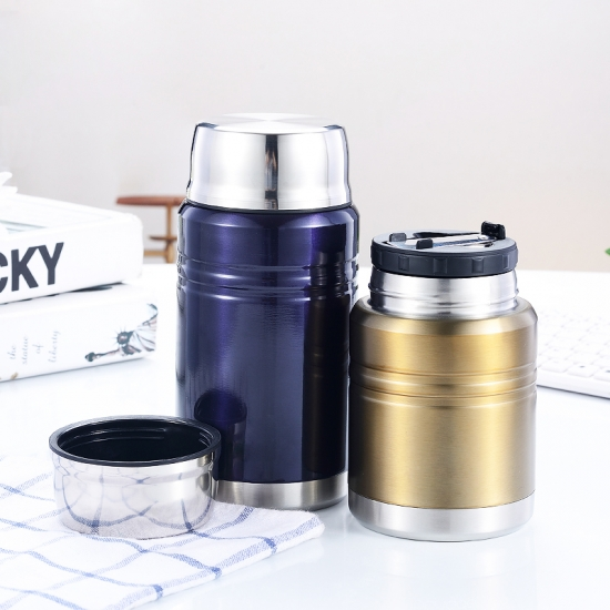 Stainless Steel Vacuum Insulated Food Jar Wtih Foldable Spoon BPA Free
